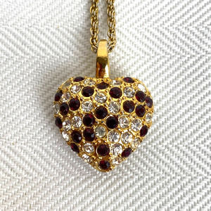 """PREMIER USA Puffed Heart Necklace-Gold-Tone-30"""""""